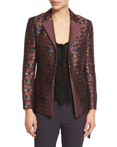 EtroScroll-Jacquard Side-Slit Jacket, Black/Multi