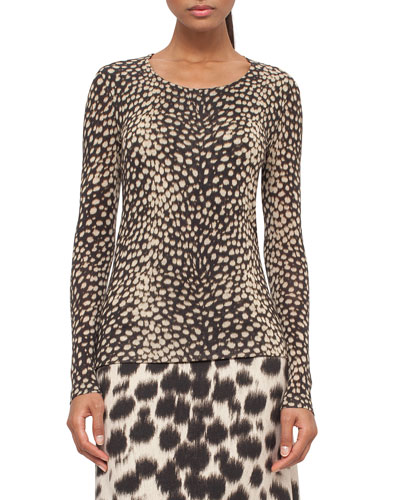 Cheetah-Print Long-Sleeve Tee, Date/Steppe
