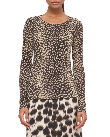Cheetah-Print Long-Sleeve Tee, Date/Steppe