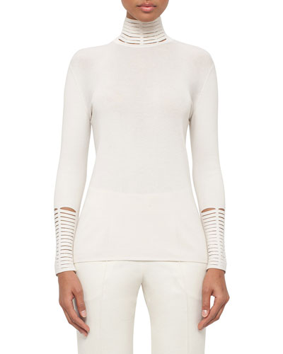 Long-Sleeve Slash-Detail Turtleneck, White Pepper
