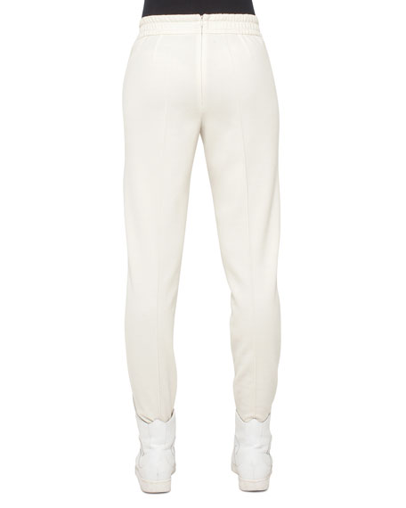 Wool-Blend Jogger Pants, White Pepper