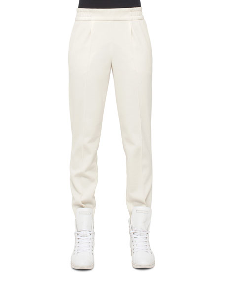 Wool-Blend Jogger Pants, White Pepper