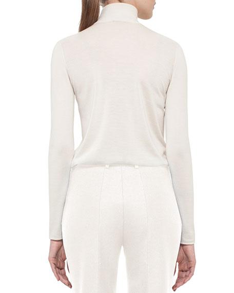 Cashmere-Blend Turtleneck Sweater, Pomegranate