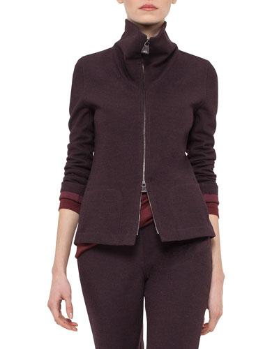 Reversible Bicolor Zip Jacket, Mangosteen