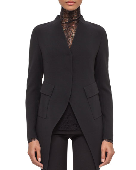 Akris Peaked-Hem Long Jacket, Black