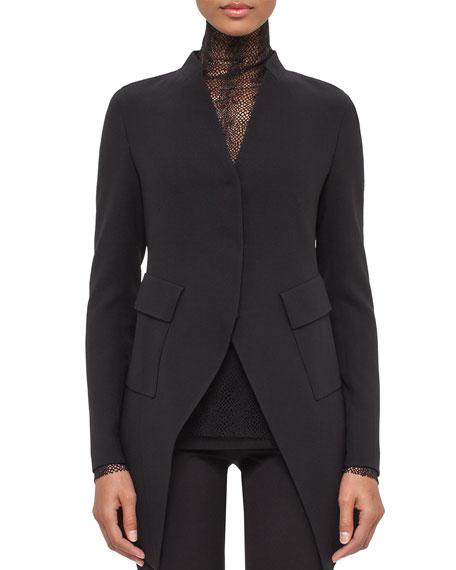 Akris Peaked-Hem Long Jacket, Black