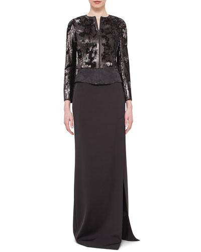 Sequined Zip-Front Jacket, Black