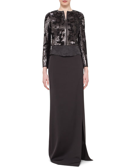 Akris Sequined Zip-Front Jacket, Black