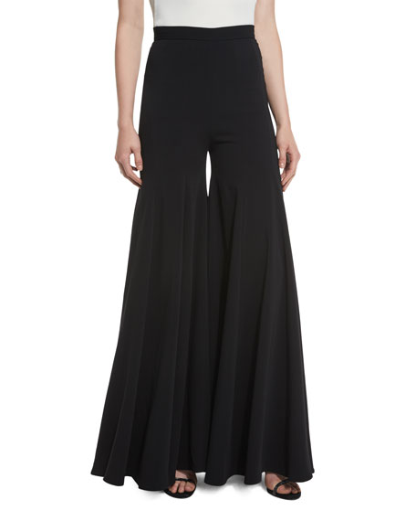 Brandon Maxwell Super Flare High-Waist Wide-Leg Silk Pants,
