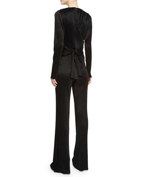 Pleated Wrap Long-Sleeve Jumpsuit