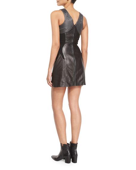 Massai-Stitched Leather Dress, Black