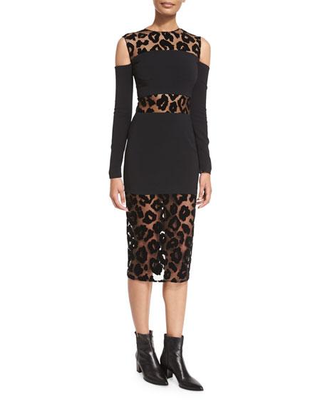 Thierry Mugler Leopard-Burnout Cold-Shoulder Dress, Black