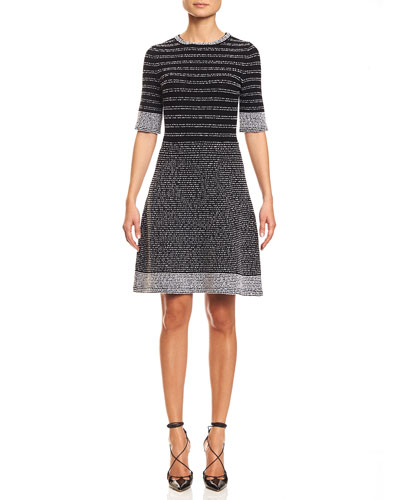 Melange-Knit Half-Sleeve Fit-&-Flare Dress, Black/White