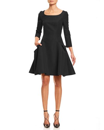 3/4-Sleeve Large-Pocket Fit-&-Flare Dress, Black