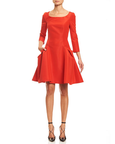 Taffeta 3/4-Sleeve Fit-&-Flare Cocktail Dress, Fire Red