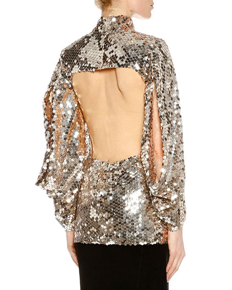 Sequined Open-Back Tunic, Light Silver