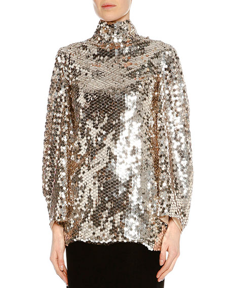 TOM FORD Sequined Open-Back Tunic, Light Silver