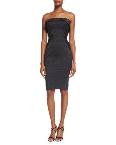 Strapless Fold-Over Jacquard Cocktail Dress, Black