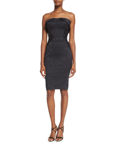 Strapless Fold-Over Jacquard Cocktail Dress, Black