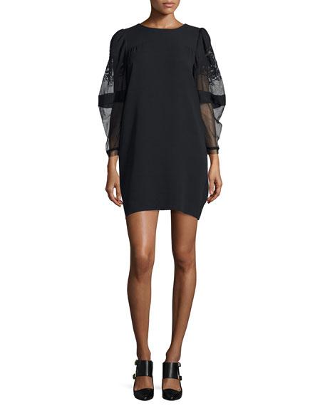 Sheer-Sleeve T-Shirt Dress, Black