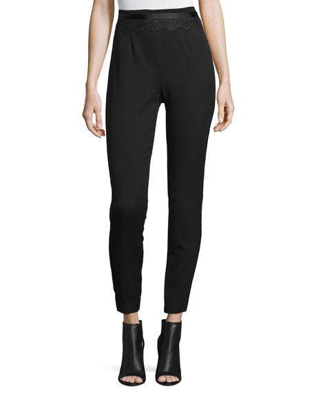 Maiyet Cummerbund Slim-Leg Pants, Black
