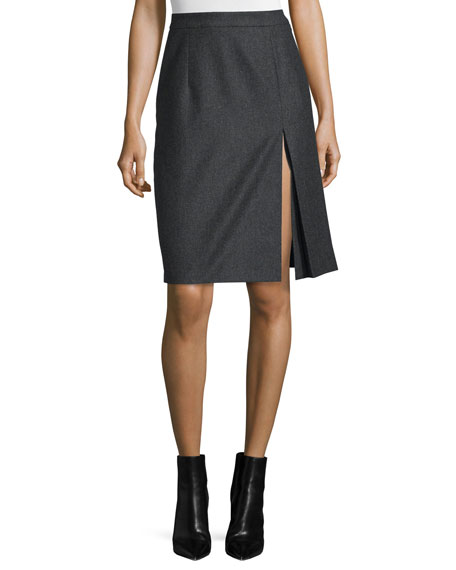 Michael Kors Collection Front-Slit Pleated Skirt, Charcoal