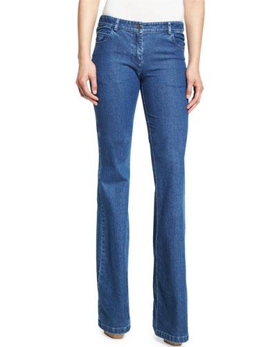 Medium-Wash Flared Jeans, Indigo