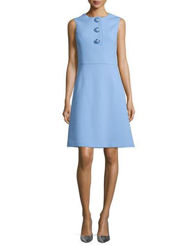 Sleeveless Button-Front A-Line Dress, Powder Blue