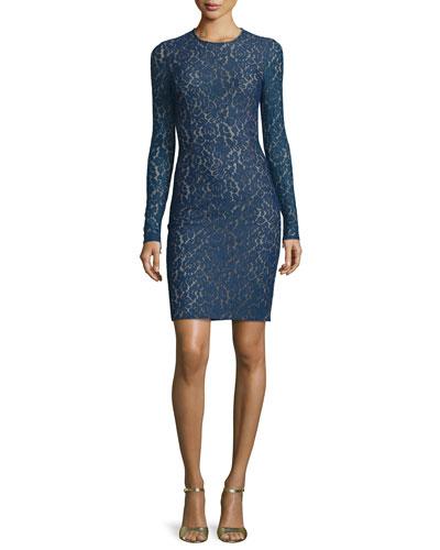 Lace Long-Sleeve Sheath Dress, Sapphire