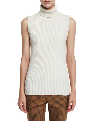 Ribbed Sleeveless Turtleneck Sweater, White