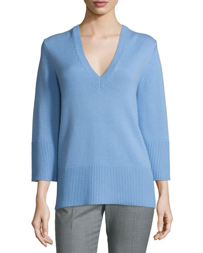Cashmere V-Neck Tunic Sweater, Powder Blue