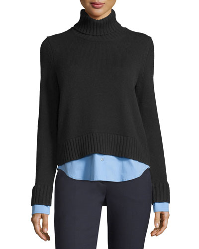 Cashmere Turtleneck Sweater w/Shirttail Hem, Navy