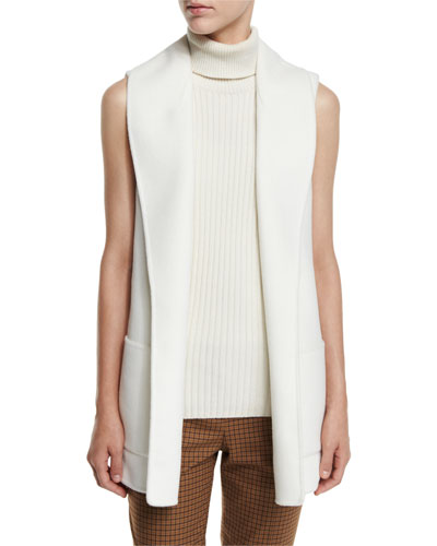 Shawl-Collar Wool Vest, White