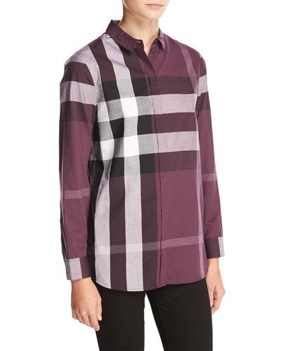 Check-Print Long-Sleeve Shirt, Dark Violet