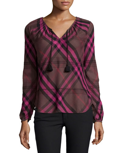 Long-Sleeve Check Boho Top