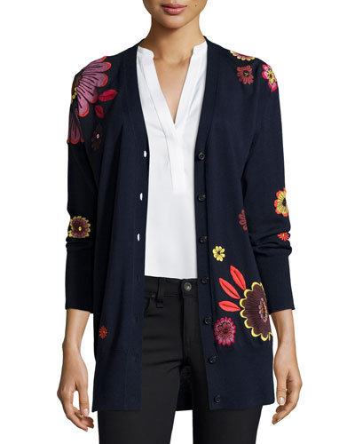 Floral-Embellished Wool V-Neck Cardigan