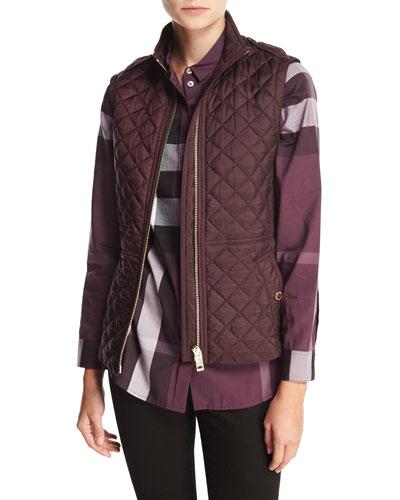 Tindale Quilted Zip-Front Vest, Dark Elderberry