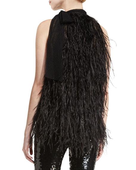 Feather Tie-Neck Sleeveless Blouse, Black