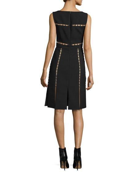 Sleeveless Cutout Dress w/Metallic Beads, Black