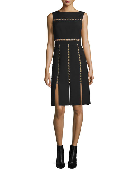 Michael Kors Collection Sleeveless Cutout Dress w/Metallic Beads,