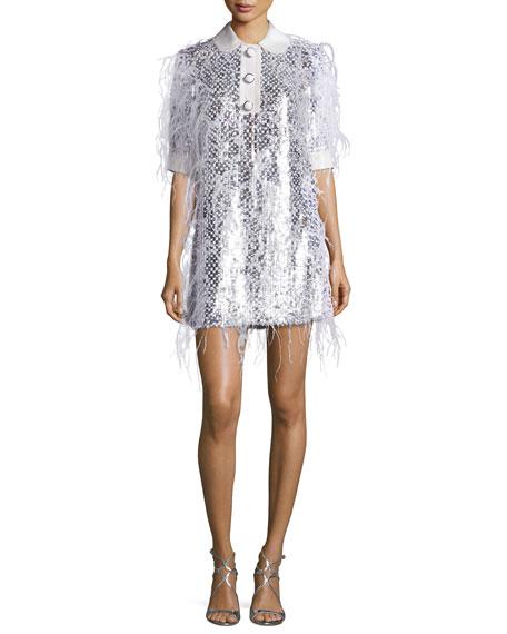 Michael Kors Ostrich-Feather Half-Sleeve Shirtdress, White/Suntan