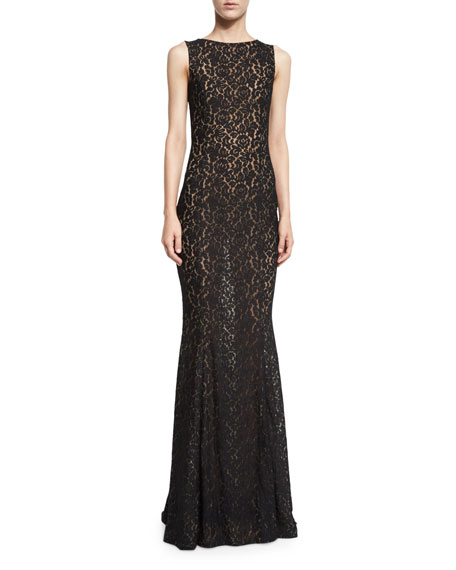 Lace Boat-Neck Sleeveless Gown, Black