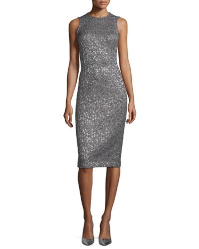 Shimmery Sleeveless Sheath Dress, Slate/Silver