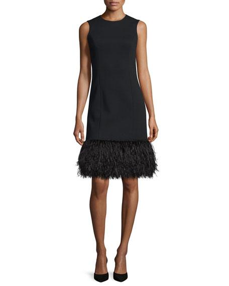 michael kors ostrich hem sleeveless shift dress black neiman marcus. Black Bedroom Furniture Sets. Home Design Ideas