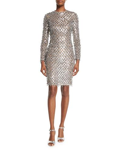 Dangling Metallic Long-Sleeve Dress, Silver/Suntan