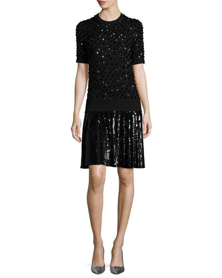 Michael kors sequined pleated t shirt dress black modesens for Black pleated dress shirt