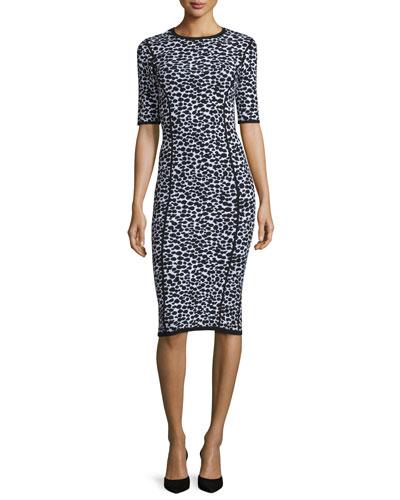 Leopard-Print Half-Sleeve Midi Dress, Optic White/Black