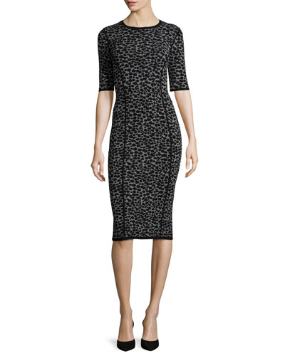 Leopard-Print Half-Sleeve Midi Dress, Slate/Black