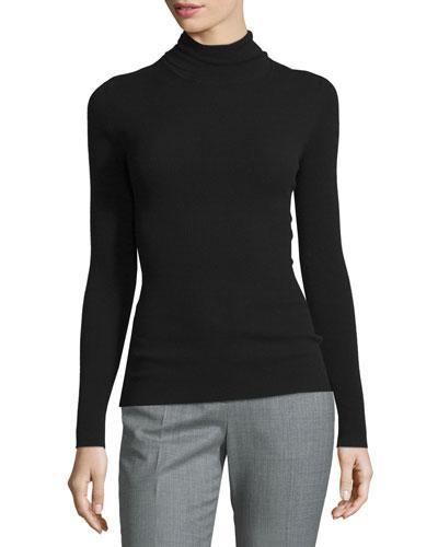Long-Sleeve Turtleneck Sweater, Black