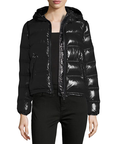 Mapleford 2-in-1 Glossy Puffer Jacket w/ Zip-Off Sleeves, Black